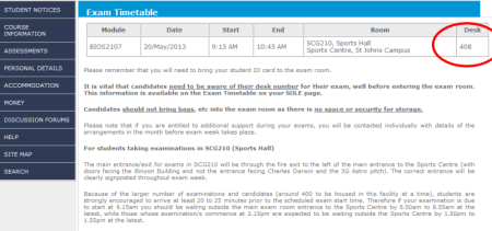 SOLE exam timetable