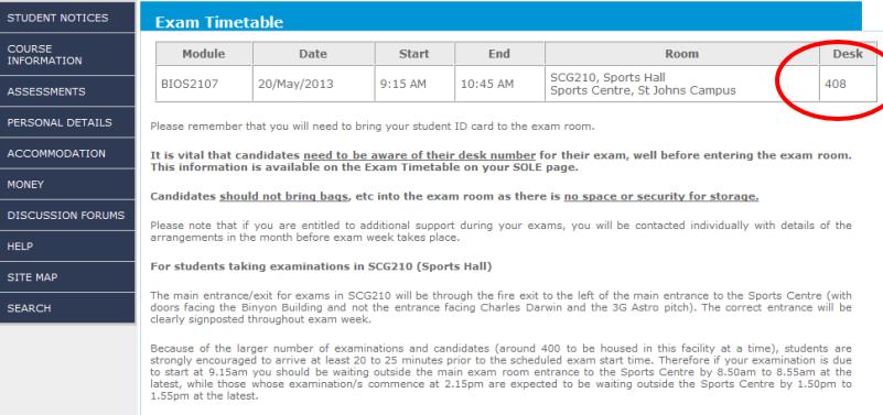 SOLE exam timetable