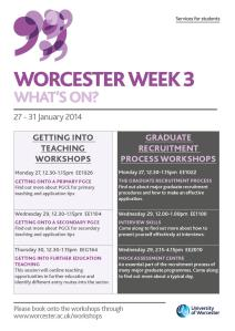 Worcester Week 3