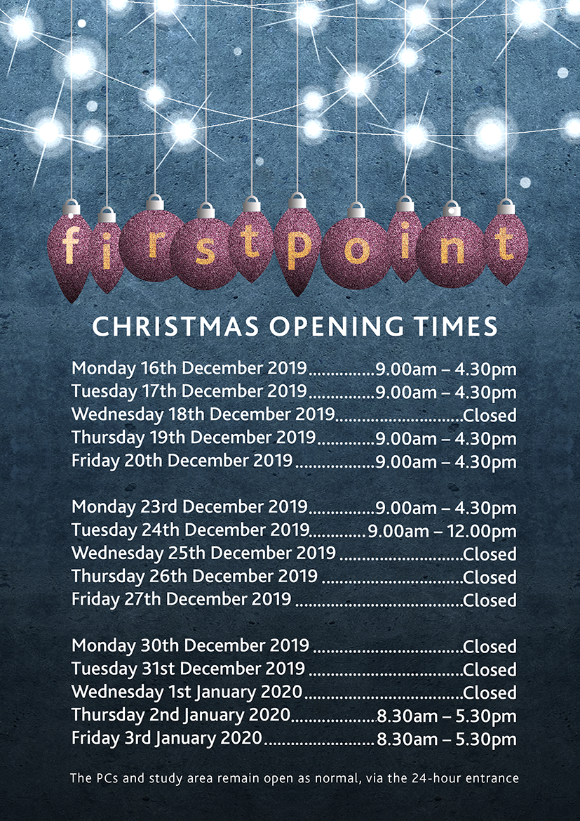 firstpoint xmas hours a4 poster 2019